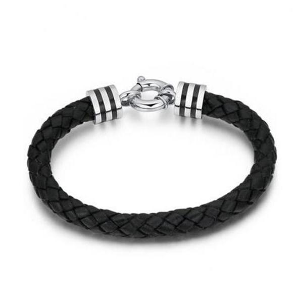Braided Leather and Stainless Steel Sailor Design 8mm Bracelet