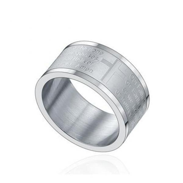 Stainless Steel 12mm Cross W. Lord's Prayer in English Wedding Band Ring