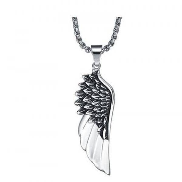 Stainless Steel Men's Angel Wing Pendant Necklace