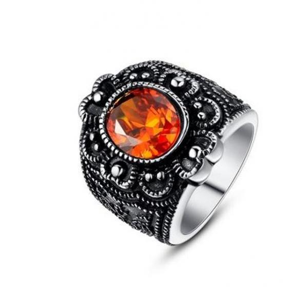 Stainless Steel Vintage Flora Oval Orange-Red Cubic Zirconia Women's Cocktail Ring