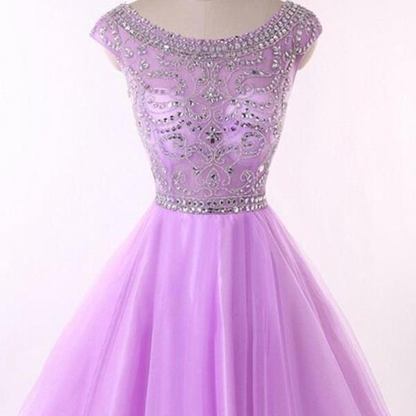 Elegant Purple Party Dress,Homecoming Dresses,Beading Short Homecoming Dress