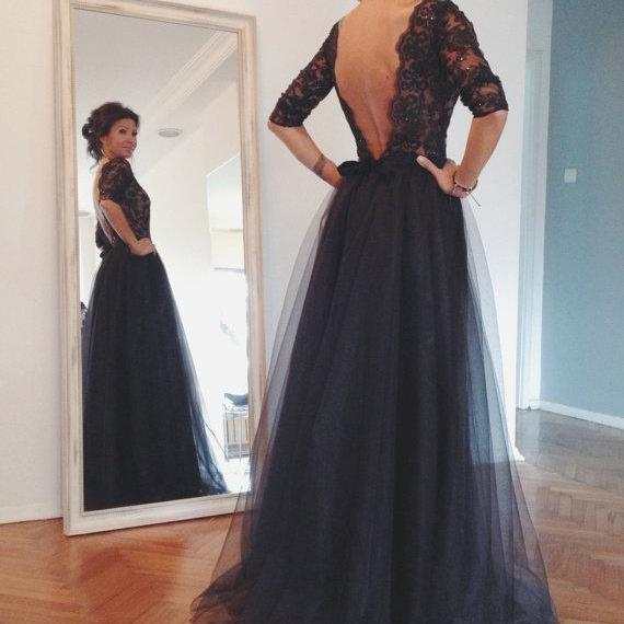 Lace And Tulle Floor-Length Prom Dresses, Sexy Backless Prom Dresses