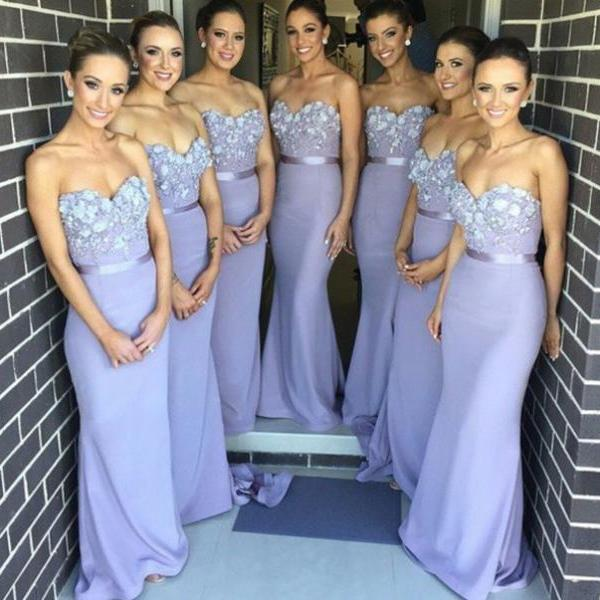 Appliques Strapless Bridesmaid Dresses,Sweetheart Floor-Length Prom Dress,Prom Dresses