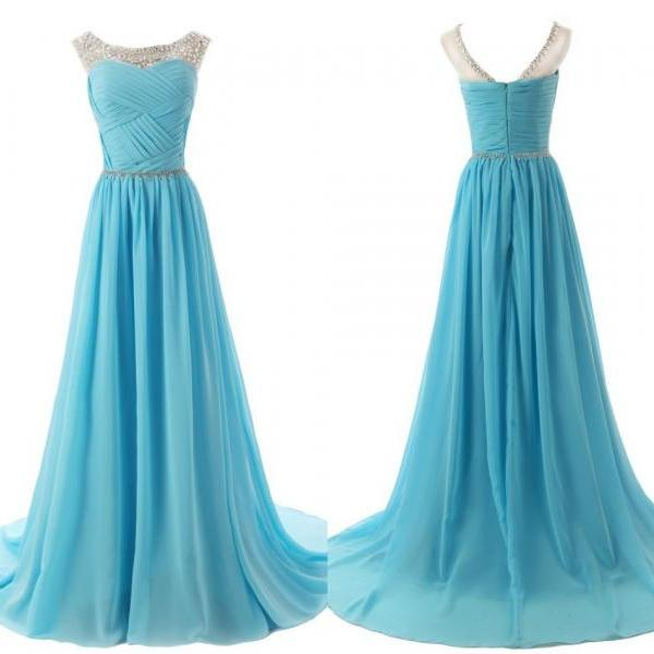 Floor-Length A-Line Prom Dress,Simple Chiffon Beading Prom Dresses