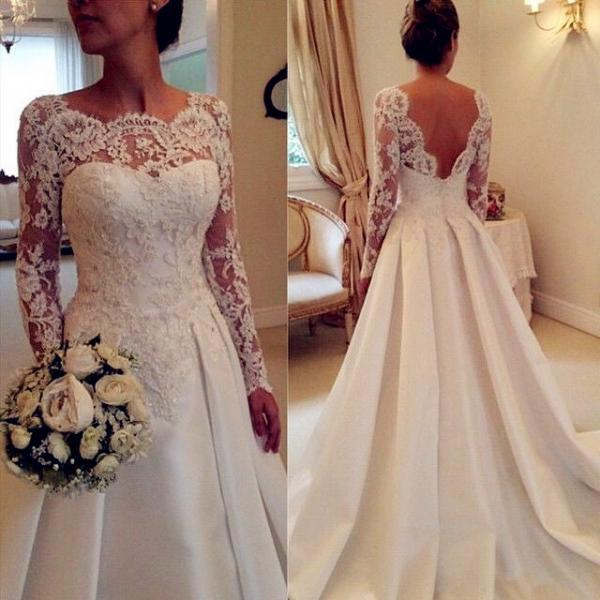 Long Sleeve Wedding Dresses,A-Line Lace Backless Prom Dress,Dress For Prom