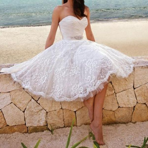 Lace Short Homecoming Dresses,Strapless Sweetheart Homecoming Dress