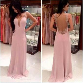 Floor-Length V-Neck Prom Dress,Pink Chiffon Prom Dresses,Dress For Prom