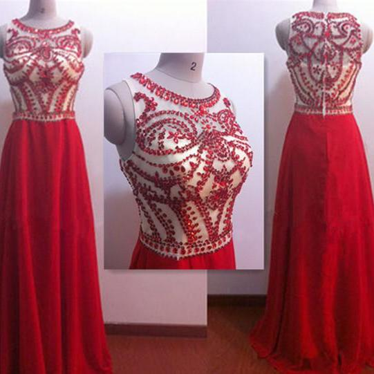 Red Long Bead Prom Dresses, O-Neck Crystal Off Shoulder Prom Dress