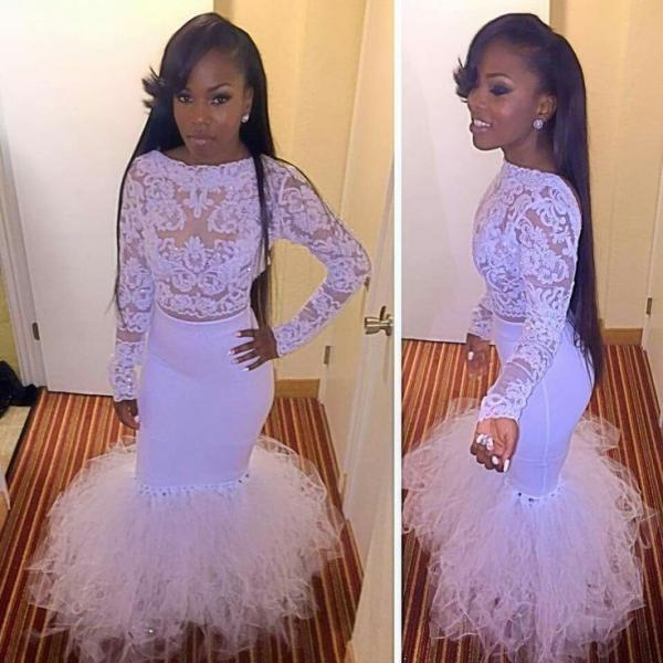 Long Sleeve Lace White Prom Dress,Mermaid Floor Length Backless Prom Dresses