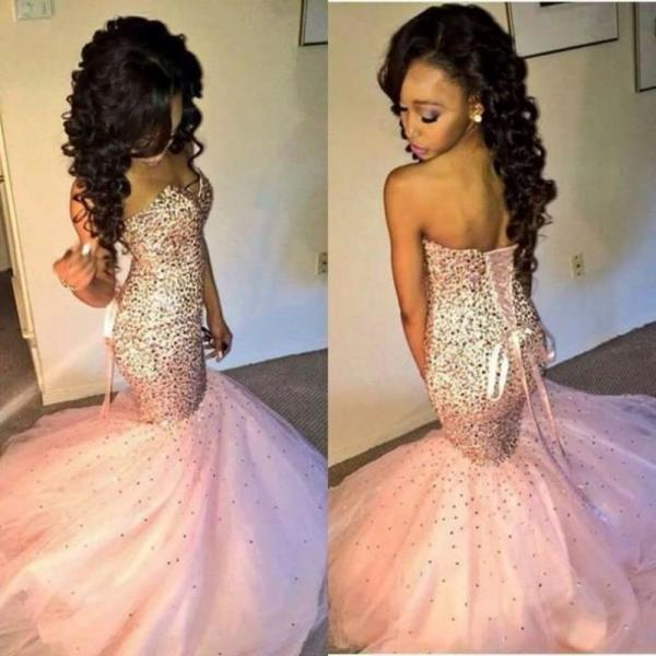 Sparkly Crystal Beaded Prom Dress,Long Sweetheart Sequin Pink Mermaid Prom Dresses