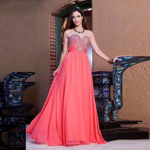 Sweetheart Chiffon Prom Dress, Strapless Prom Dresses With Beadings