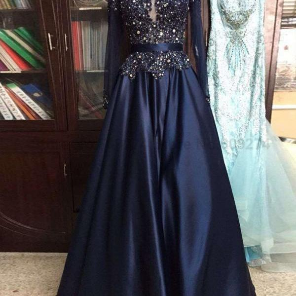Crystal Long Sleeves Prom Dress,Navy Blue Satin Dress,Dress For Prom