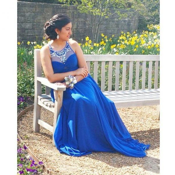 Royal Blue Prom Dress, Halter A-Line Prom Dresses,Evening Dress