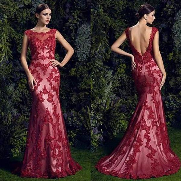 Sleeveless Lace Prom Dress,Backless Prom Dresses,Evening Dress