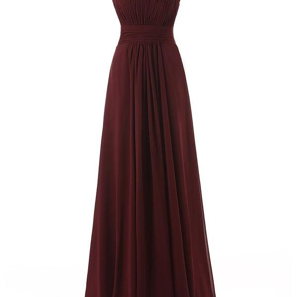 Cap Sleeve Prom Dress,Maroon Chiffon Prom Dresses,Evening Dress