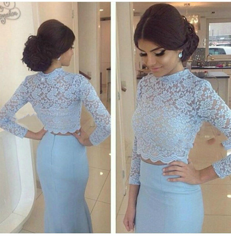 8605930a23 Elegant O-Neck Long Sleeves Prom Dress